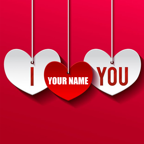 I Love You Heart Greeting Card With Your Name