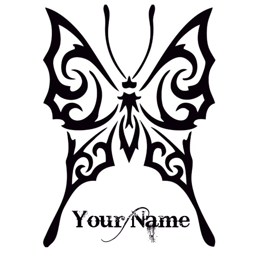Customized Butterfly Tattoo Design With Your Name
