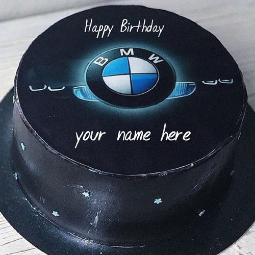 Write Name on Elegant BMW Logo Birthday Wishes Cake