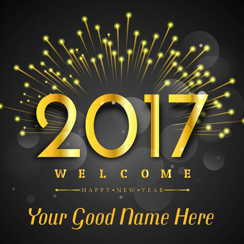 Happy New Year Wishes Luxury Golden Poster With Name