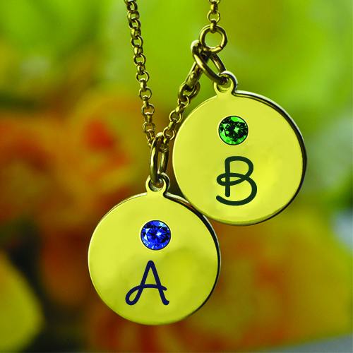Personalize Alphabet on Necklace With Birthstone
