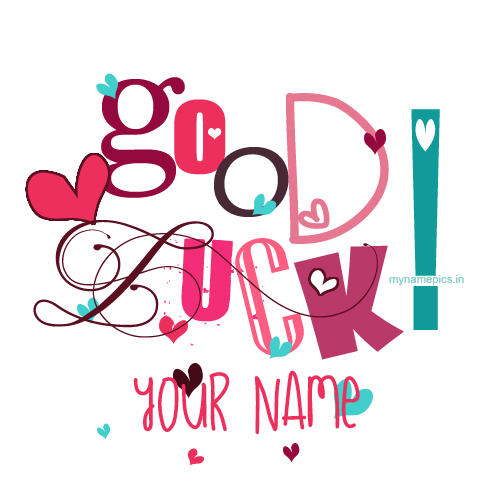 Write your name on good luck greeting card pix