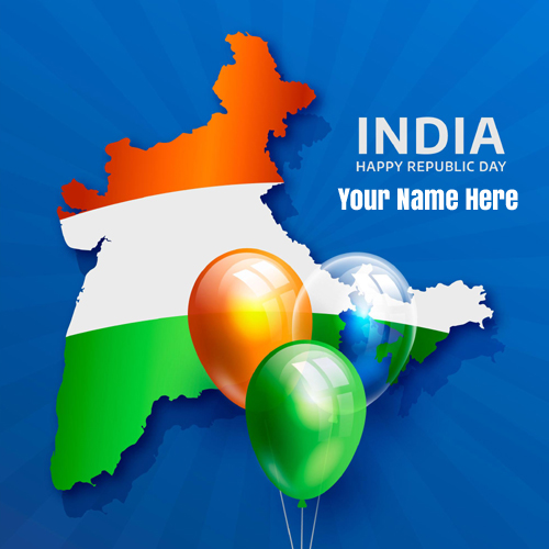 Write Name on Republic Day Greeting With Indian Map