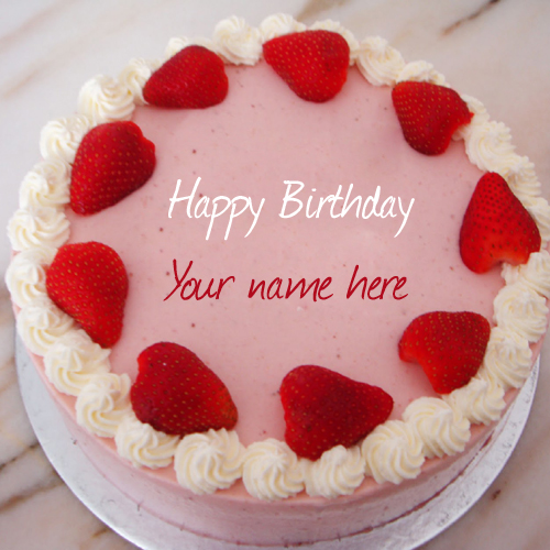 write name on strawberry birthday cake profile pic