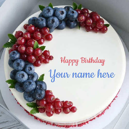Beautiful Berries Decorated Birthday Cake With Name