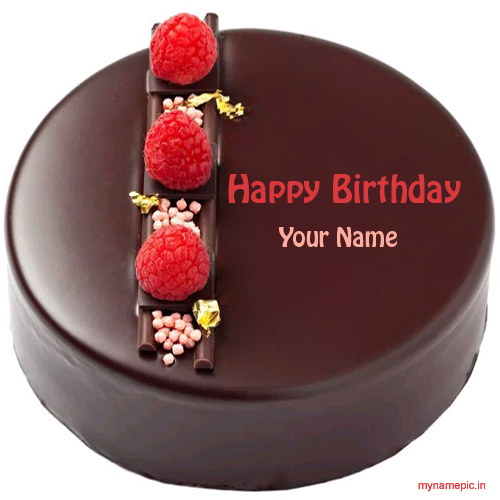 Write your name on chocolate birthday cake profile pic