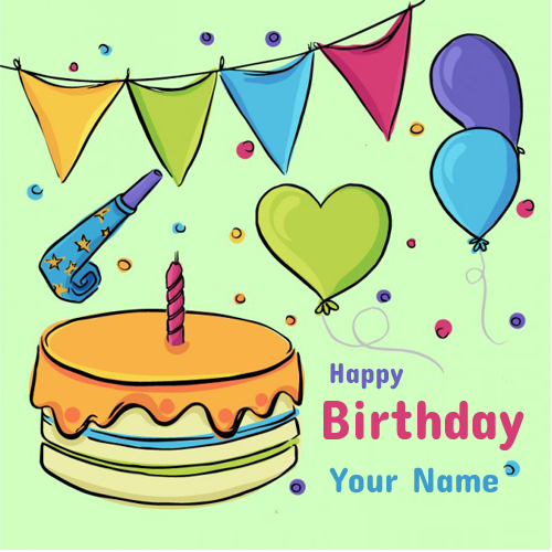 Write Name on Hand Drawn Birthday Cake With Decoration