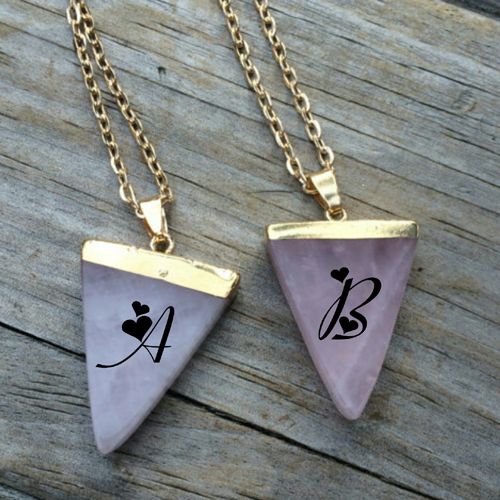 Aqua Seaglass Couple Necklace Pics With Name Alphabet