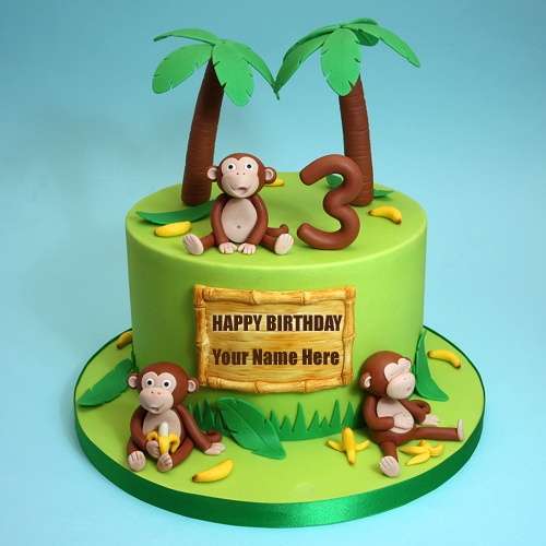 Happy Third Birthday Cute Monkey Kids Cake With Name