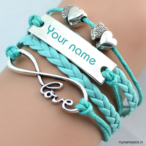 Write your name on love charm bracelet