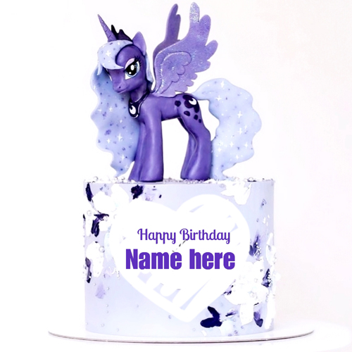 Happy Birthday Purple Unicorn Cake With Friend Name