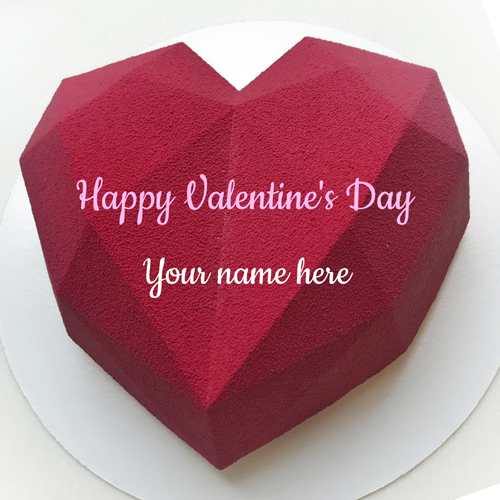 Happy Valentines Day Red Crystal Heart Cake With Name