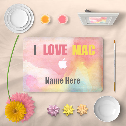 I love Mac cute laptop skin pic with your name
