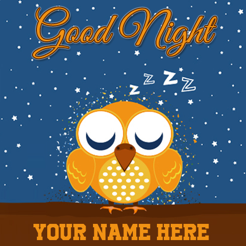 Sleeping Cute Owl Greeting For Good Night With Name