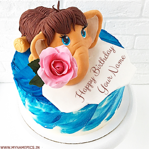 Cute Baby Elephant Birthday Cake For Kids With Name