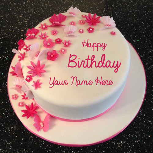 Happy Birthday Flower and Butterfly Cake With Your Name