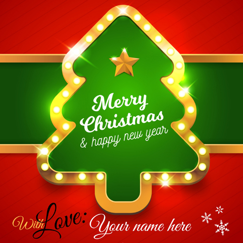 Merry Christmas and Happy New Year Greeting With Name