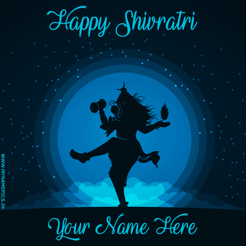 Happy Shivratri Lord Shiva Tandav Greeting With Name