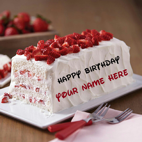 Yummy Strawberry Birthday Cake Pastry With Your Name
