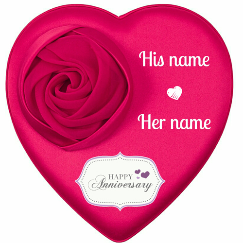 Happy Anniversary Rose Theme Heart Cake With Name