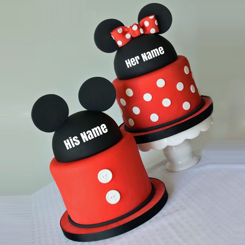 Mickey and Minnie Mouse Love Couple Cake With Your Name