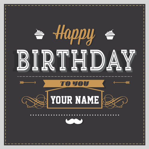 Happy Birthday Retro Greeting Card With Your Name