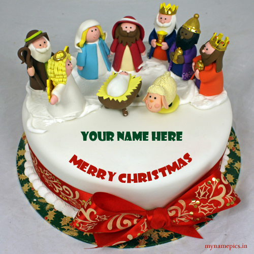 Write name on Happy Christmas cake profile pic