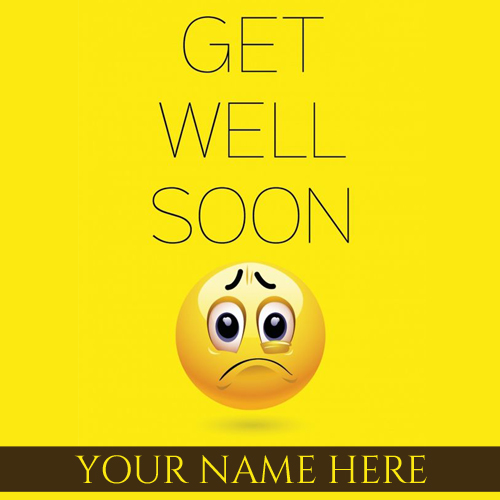 Get Well Soon Wishes Cute Emoji Greeting Card With Name