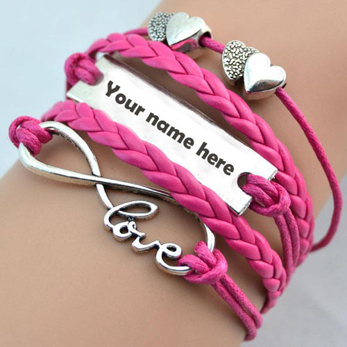 Write your name on pink bracelet pic