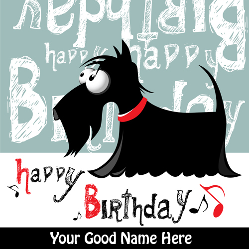 Happy Birthday Funny Dog Cartoon Greeting With Name