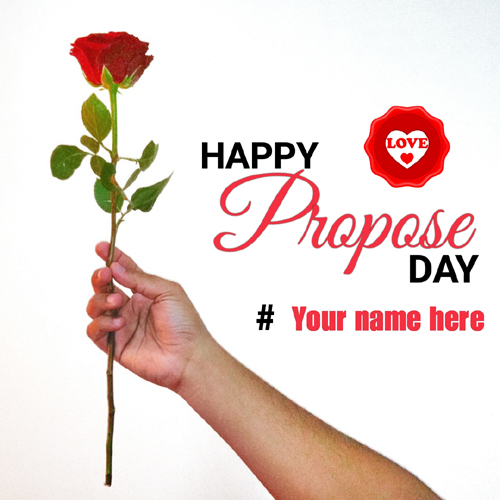 Happy Propose Day Beautiful Red Rose Greeting With Name