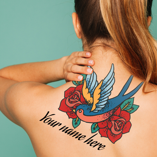 Colourful Floral and Parrot Tattoo For Girls With Name