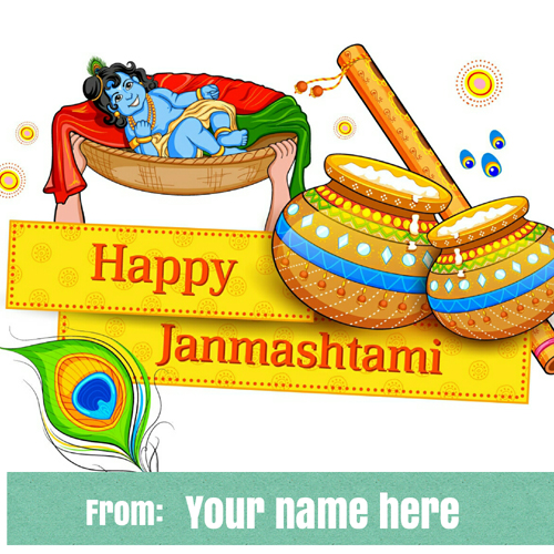 Happy Janmashtami Cute Lord Krishna Wish Card With Name