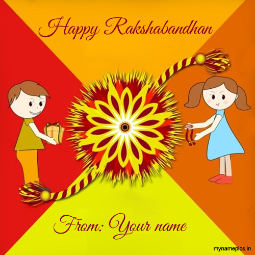 write name on beautiful rakshabandhan greeting card