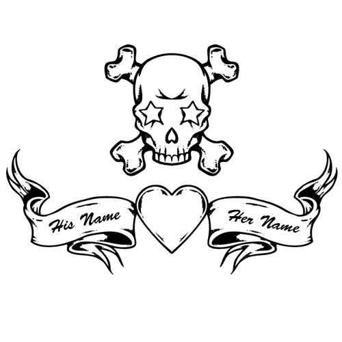 Customize Your Name on Skull Heart Tattoo Design