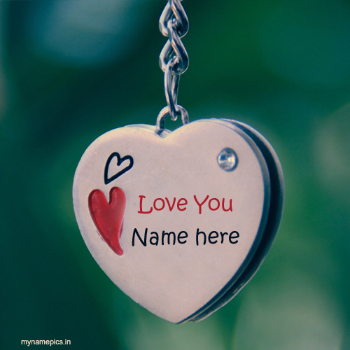 Write name on hanging heart keychain profiel pics