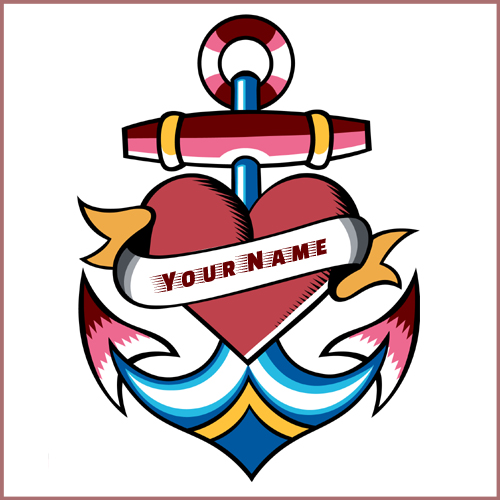 Amazing Anchor Navy Tattoo Design With Your Name