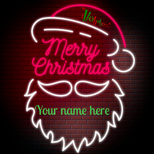 Merry Christmas Wishes Santa Claus Greeting With Name