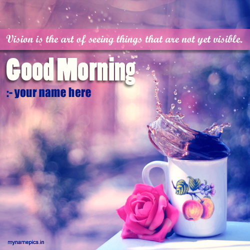 Write name on good morning greeting card namepix