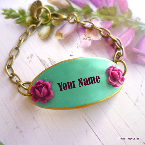 Write your name on beautiful flower bracelet profile pi