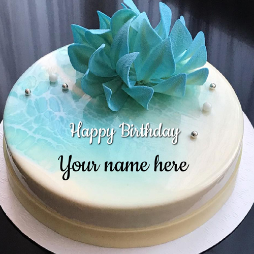 Elegant Mirror Glazed Skyblue Birthday Cake With Name