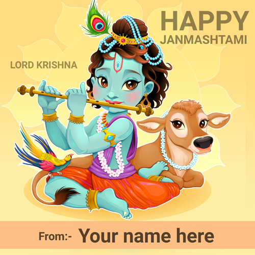 Happy Krishna Janmashtami Celebration Name Greeting