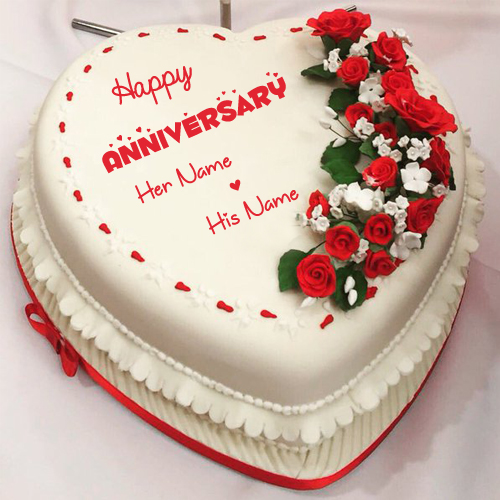 Beautiful Anniversary Special Love Heart Cake With Name