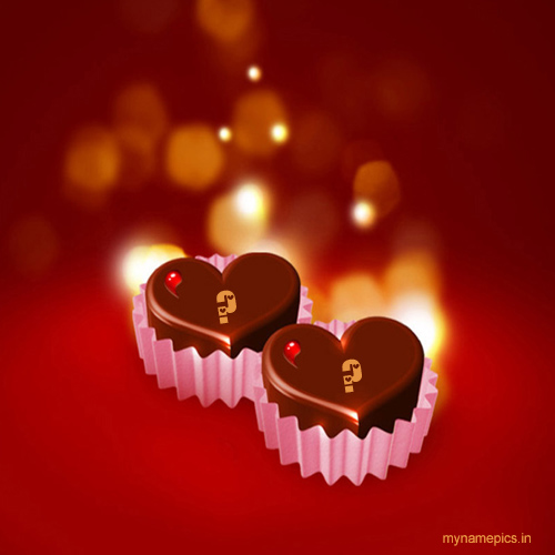 Write your name on chocolate heart profile picture.