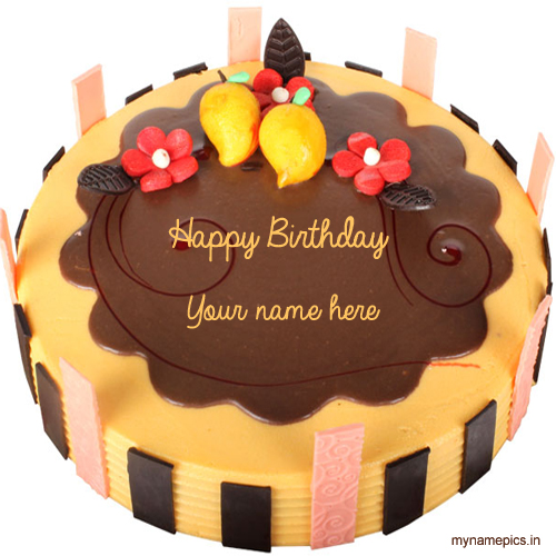 Write your name on mango birthday cake online for free
