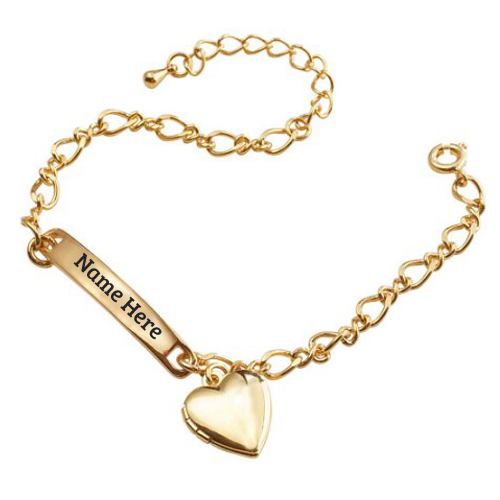 Print Name on Gold Plated Girls Heart Charm Bracelet