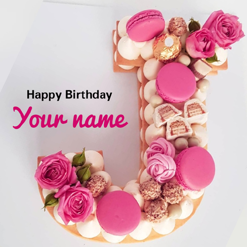 J Alphabet Shape Donuts Decorated Cake With Your Name