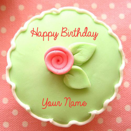 Happy Birthday Flower Cup Cake With Your Name