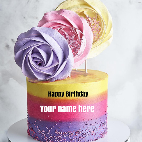 Delicious Real Cream Multi Color Cake With Name