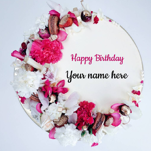 Name Birthday Wishes Cake With Flowers Decoration